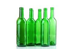 Botellas de cristal verdes Fotografía de archivo