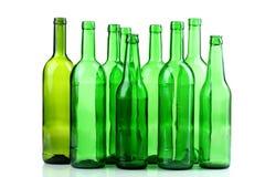 Botellas de cristal verdes Imagen de archivo libre de regalías