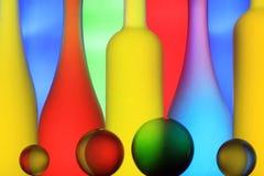 Botellas de cristal y esferas Fotografía de archivo libre de regalías