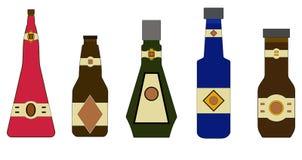 Botellas de diversos colores trama ilustración del vector