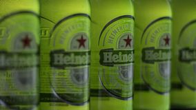 Botellas de Heineken en fila Imagen de archivo