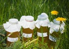 Botellas de jarabes hechos en casa Imagenes de archivo