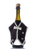 Botellas de la boda de Champán en la decoración festiva del traje Imagenes de archivo