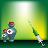 Botellas de la jeringuilla y de la medicina Imágenes de archivo libres de regalías