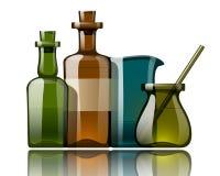 Botellas de la medicina de la vendimia ilustración del vector