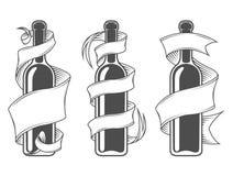Botellas de la plantilla con la cinta Fotografía de archivo libre de regalías