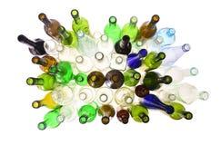 Botellas de la visión superior en blanco fotografía de archivo libre de regalías
