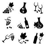 Botellas de las uvas, de la copa de vino y de vino, sistema del vector libre illustration