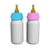 Botellas de leche del bebé de los pares aisladas en blanco Imagenes de archivo