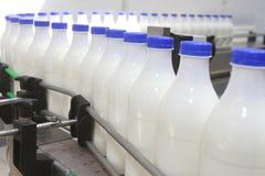 Botellas de leche en el transportador Foto de archivo libre de regalías