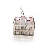 Botellas de leche miniatura Foto de archivo