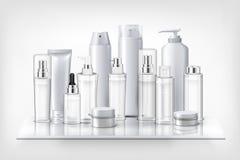 Botellas de los cosméticos en estante ilustración del vector