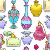 Botellas de perfume coloridas para mujer inconsútiles stock de ilustración