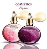 Botellas de perfume del espray del vintage Diseños de empaquetado realistas del producto de vector Fotografía de archivo