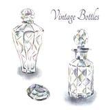 Botellas de perfume del vintage Fotos de archivo