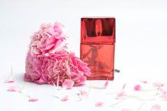 Botellas de perfume y claveles rosados en el fondo blanco Fotos de archivo