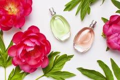 Botellas de perfume y peon?as rosadas de las flores en espacio puesto plano gris claro de la copia de la opini?n superior del fon imagen de archivo