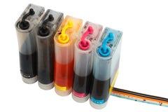 Botellas de sistema de abastecimiento continuo de la tinta para una impresora de chorro de tinta de la modificación Imagenes de archivo