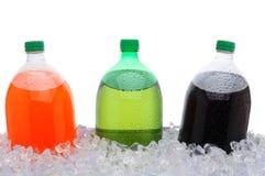 Botellas de soda de 2 litros en hielo Imágenes de archivo libres de regalías