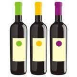 Botellas de vino aisladas fijadas Imagenes de archivo