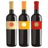 Botellas de vino aisladas fijadas Fotografía de archivo