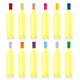Botellas de vino aisladas fijadas Foto de archivo libre de regalías