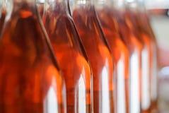 Botellas de vino/botellas de Cabernet Franc Rose de vino en filas en bodega húngara imagen de archivo libre de regalías