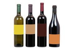 Botellas de vino con la escritura de la etiqueta en blanco Imágenes de archivo libres de regalías