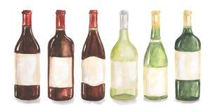 Botellas de vino de la acuarela fijadas Fotografía de archivo libre de regalías
