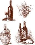 Botellas de vino de la uva ilustración del vector