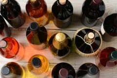 Botellas de vino del alto ángulo Imagen de archivo libre de regalías