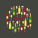 Botellas de vino en un círculo Imagen de archivo libre de regalías