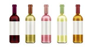 Botellas de vino falsas encima del sistema, etiqueta en blanco de los frascos de cristal ilustración del vector