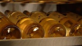 Botellas de vino macras de Chardonnay en refrigerador de la conservación en cámara frigorífica almacen de video