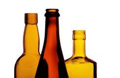 Botellas de vino retroiluminadas Imágenes de archivo libres de regalías