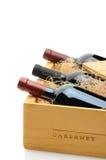 Botellas de vino rojo en embalaje Imagen de archivo