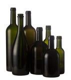 Botellas de vino vacías aisladas en blanco Fotos de archivo libres de regalías
