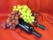 Botellas de vino y de uva Fotos de archivo