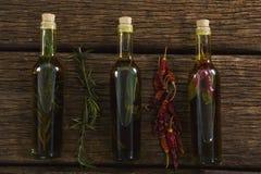Botellas del aceite de oliva con herbario y las especias Imagen de archivo libre de regalías