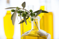 Botellas del aceite de oliva en el fondo blanco Fotografía de archivo