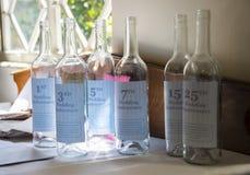 Botellas del aniversario de boda Imagen de archivo libre de regalías