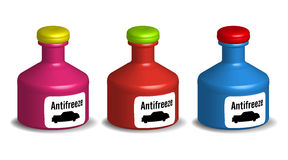 Botellas del anticongelante Fotos de archivo libres de regalías