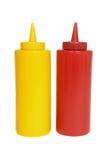 Botellas del apretón de la salsa de tomate y de la mostaza Imágenes de archivo libres de regalías