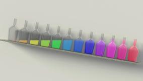 Botellas del arco iris Foto de archivo libre de regalías