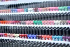 Botellas del esmalte de uñas Foto de archivo libre de regalías