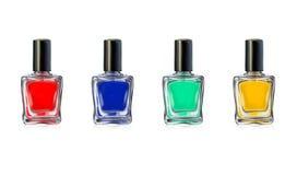 Botellas del esmalte de uñas en el ejemplo blanco del vector del fondo Fotos de archivo