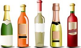 Botellas del vector de alcohol Imagenes de archivo