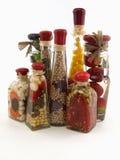 Botellas del vinagre en blanco Imagen de archivo libre de regalías