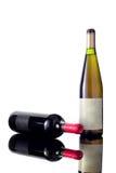 Botellas del vino blanco rojo y Imagen de archivo