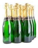 Botellas del vino espumoso en un fondo blanco Fotos de archivo libres de regalías